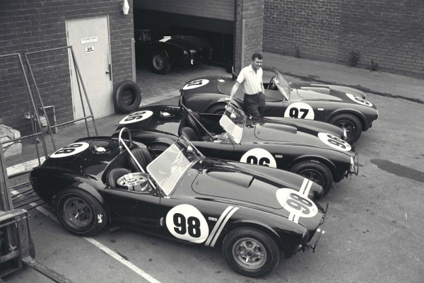 Shelby Roadsters Display, Venice, CA, 1963. Carroll Shelby with the 3 Cobra roadsters that would win the 1963 USRRC Manufacturer's Championship