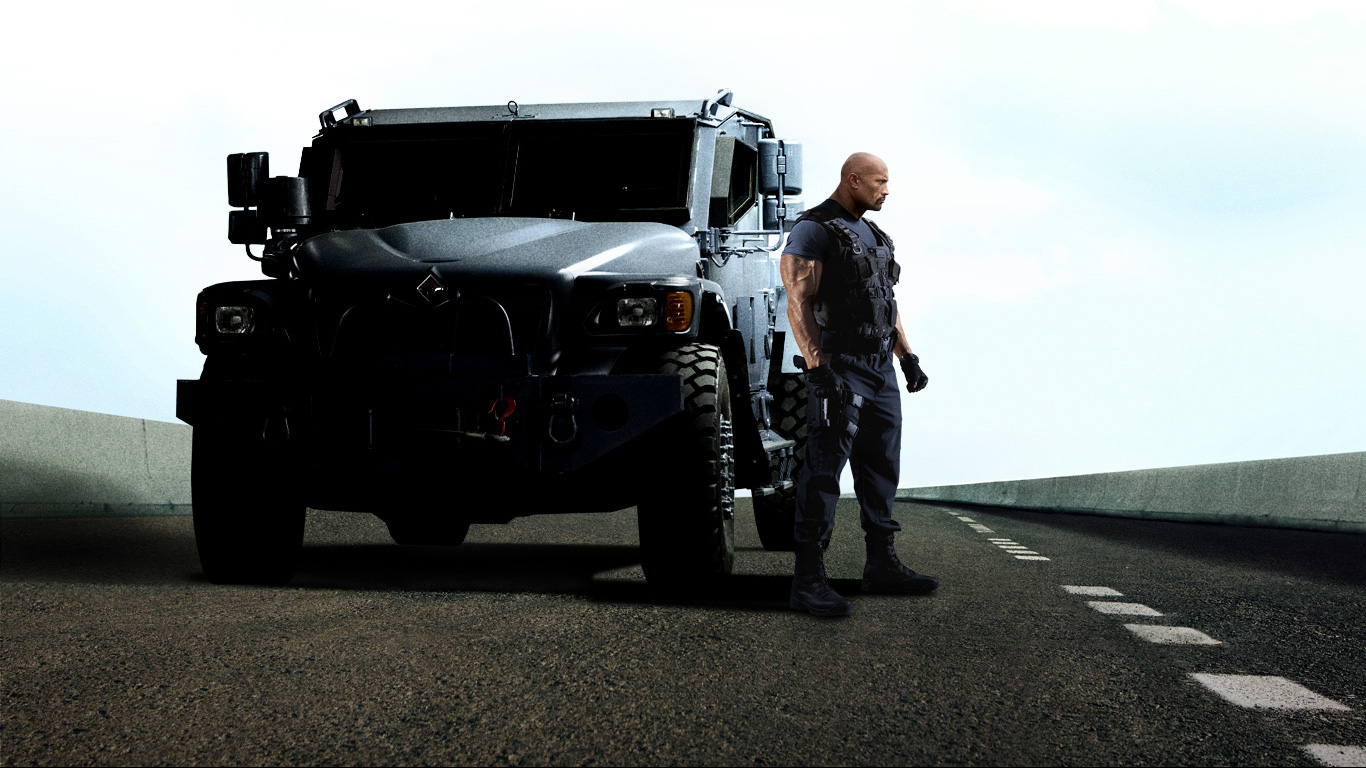Makes do with the armoured navistar mxt truck he had in fast five