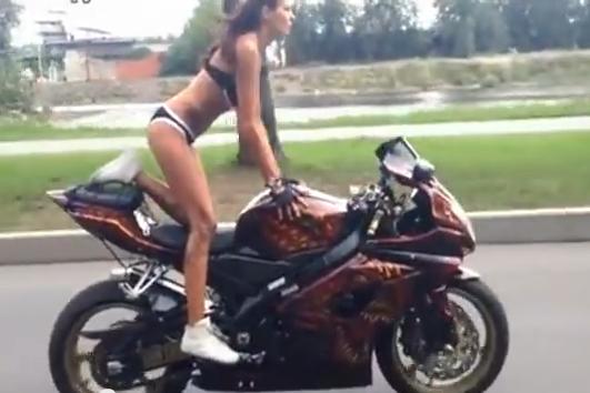 Yoga Girl Doing Amazing Stunts On A Suzuki