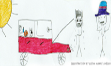 Hot weather safety and driving car tips - Illustration by Leena Amani Sheikh