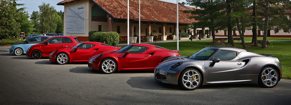 Alfa Romeo 4C & Giulietta, Fiat 595 Abarth and 500L driven at Fiat proving ground