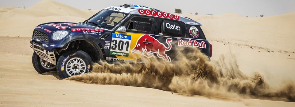 We drive Nasser Al-Attiyah's X-Raid Mini rally car, and have a go at navigating him