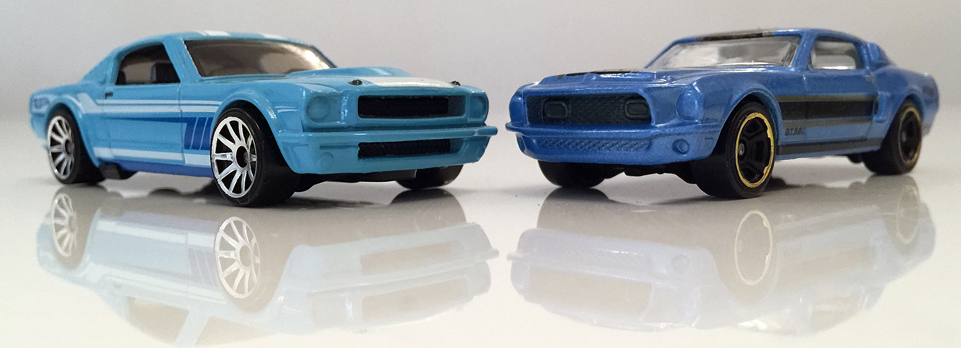 Diecast 65 Mustang Fastback vs 68 Mustang Shelby GT 500 by Hot Wheels