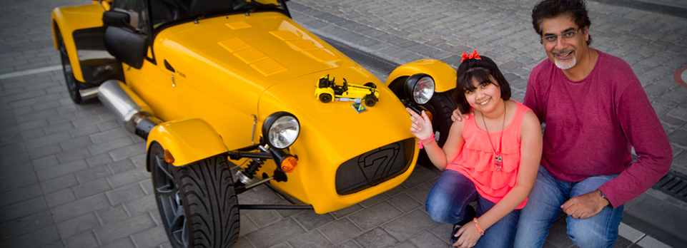 Expert Lego builder – Shahzad's daughter – builds the latest car kit from Lego and then gets a ride in the real thing